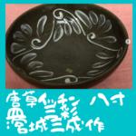唐草イッチン 八寸皿 三彩 :宮城三成作